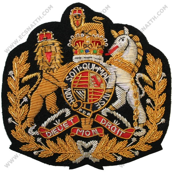 WO1 Royal Arms In Wreath On Black Corps Command RSM (2011) Badge