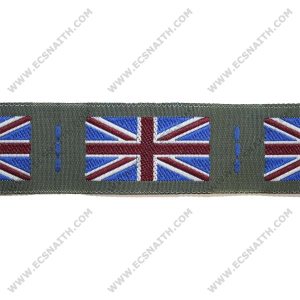 Union Jack Badge - Woven On Olive Green