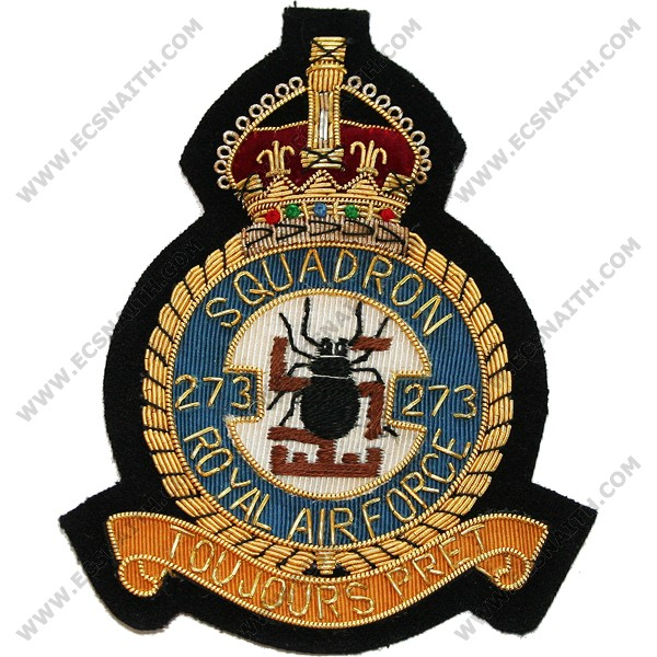 Royal Air Force Blazer Badge 273 Squadron Wire Old