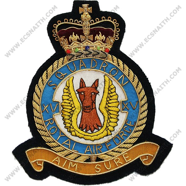 RAF 15 Sqn Wire Blazer Badge