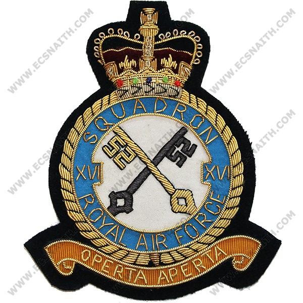 RAF 16 Sqn Wire Blazer Badge