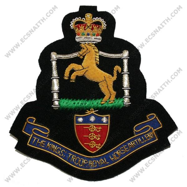 Kings Troop Royal Horse Artillery Blazer Badge, Scroll, Wire