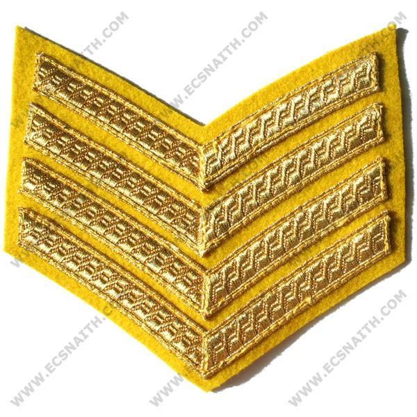 4 Bar Gold On Cavalry Yellow Rank Chevron