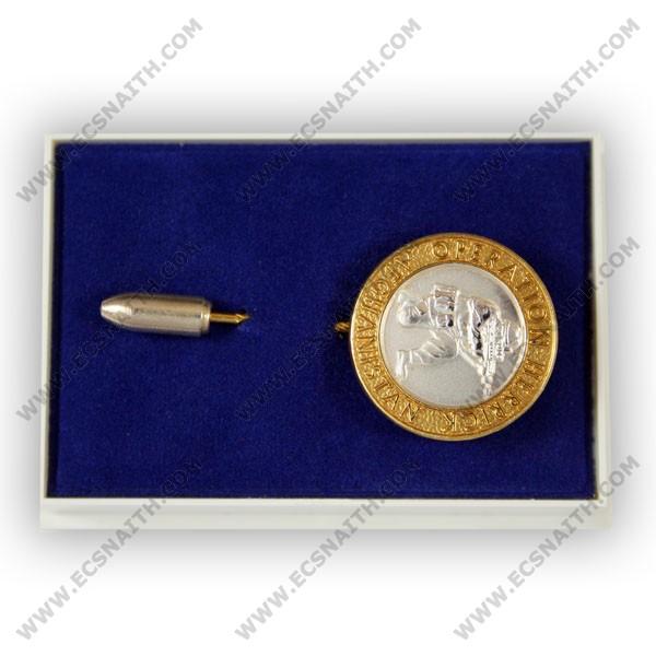 OP-HERRICK Afghanistan Gilt Rim/Silver Centre Stick Pin
