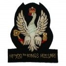14th/20th King's Hussars Wire Blazer Badge - Black on Silver