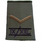 9th/12th Lancers Rank Slides, Olive Green, (L/Cpl)