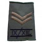 9th/12th Lancers Rank Slides, Olive Green, (Cpl)