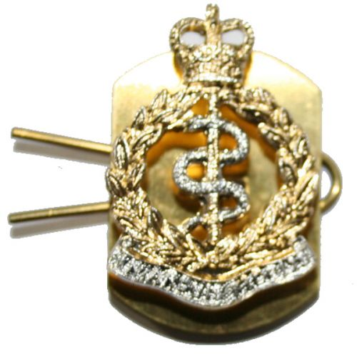 RAMC O/R's Anodised Collar Badges (Stud with back plate fittings)