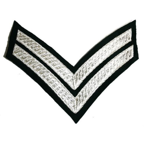 Corporal Chevrons - Silver on Rifle Green