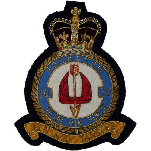RAF 10 Sqn Wire Blazer Badge