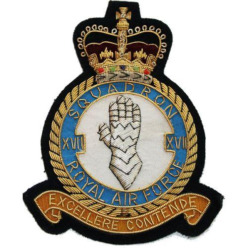RAF 17 Sqn Wire Blazer Badge