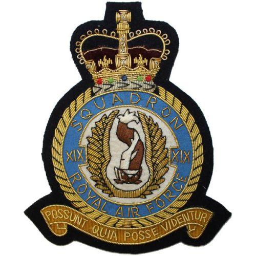 RAF 19 Sqn Wire Blazer Badge