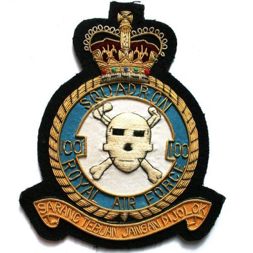 RAF 100 Sqn Wire Blazer Badge