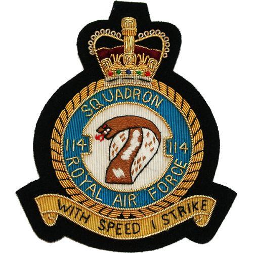 RAF 114 Sqn Wire Blazer Badge