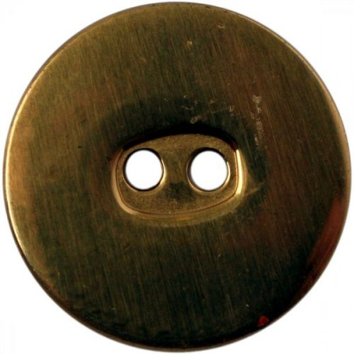 Button, Brass, Flat, 2 Hole