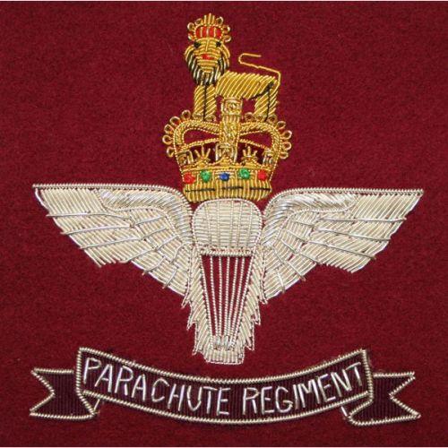 Parachute Regiment Wire Blazer Badge - On Maroon