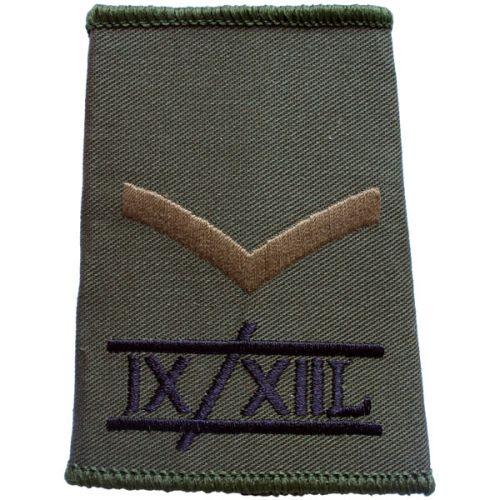 9th/12th Lancers Rank Slides, Olive Green, (L/Cpl)