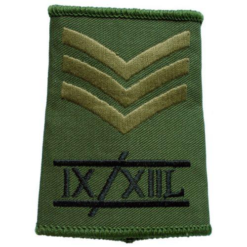 9th/12th Lancers Rank Slides, Olive Green, (Sgt)