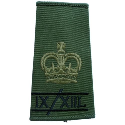 9th/12th Lancers Rank Slides, Olive Green, (WO2)