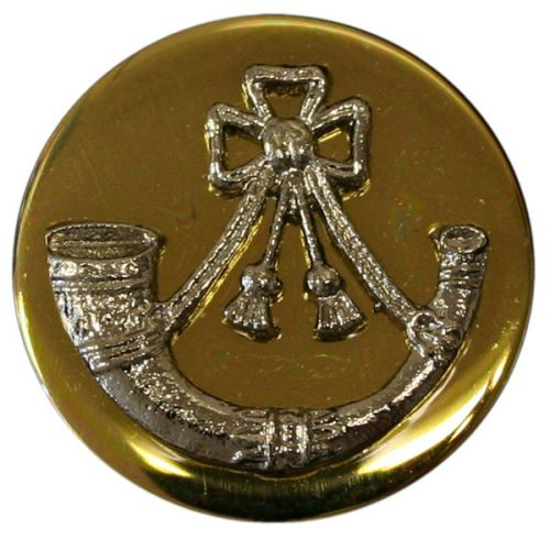 Light Infantry Mounted Button, Blazer, Bright Gilt & Dead Silver Mount (32L)