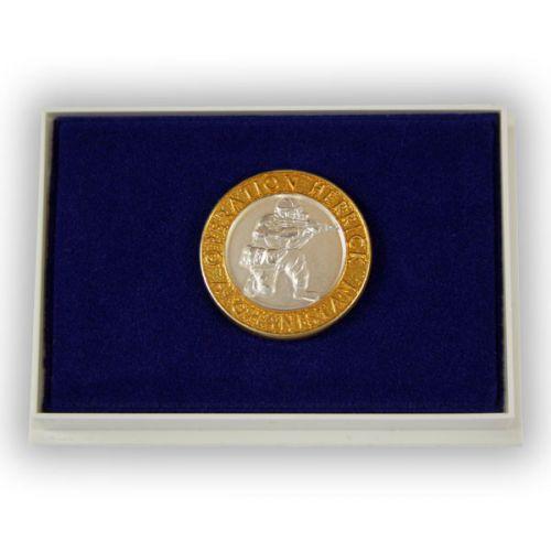 OP-HERRICK Afghanistan Gilt Rim/Silver Centre Lapel Badge