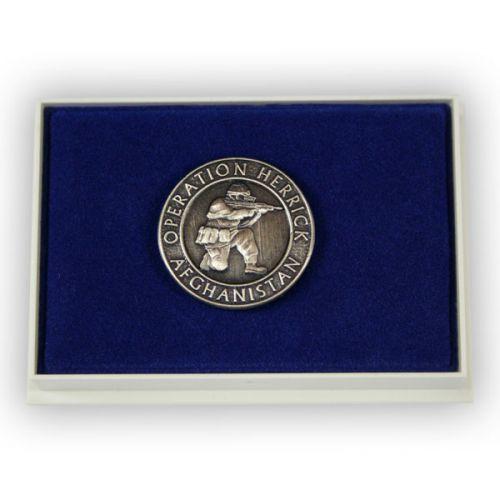 OP-HERRICK Afghanistan Silver Oxidised And Relieved Lapel Badge
